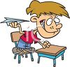 The class bully throwing paper airplanes in class clipart