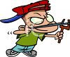 A trouble making boy aiming his slingshot clipart
