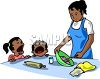Two bratty children crying while their mother is trying to cook clipart