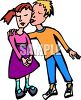 Boy and Girl Having Their First Kiss clipart