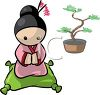 Little Japanese Girl with a Bonsai Tree clipart