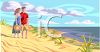 Couple on the beach in New England clipart