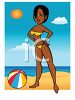 Sexy Girl Wearing a Bikini and Tanning on the Beach clipart