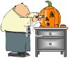 Man Carving a Jack O' Lantern for Halloween clipart
