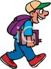 Young Man Walking to Bible Study at Church clipart