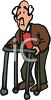 Feeble Old Man Walking with a Walker clipart