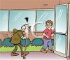 Boy Holding the Door Open for a Grumpy Old Man clipart