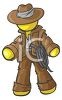 Cartoon of a Male Figure Dressed Like an Adventurer clipart