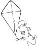 Kite Coloring Page clipart
