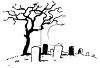 Black and White Line Drawing of a Dead Tree in a Graveyard clipart