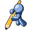 Human Figure Using a Huge Pencil to Write clipart