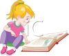 Cute Little Girl Reading a Storybook clipart