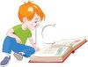 Cute Little Boy Reading a Storybook clipart