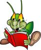 Cartoon Cricket Reading a Book clipart