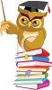 Wise Owl Standing On a Stack of Books clipart