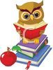 Owl, Books and an Apple Depicting Learning and Education clipart