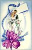 Old fashioned bride and groom on a wedding invitation clipart