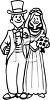 Man and woman as bride and groom on their wedding day clipart
