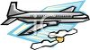 Commercial Passenger Plane Flying Above the Clouds clipart