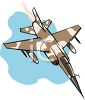 Brown and Tan Camouflage Military Plane Flying Down Fast clipart