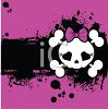 Girlie Skull and Bones on a Pink and Black Background clipart