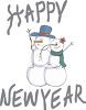 Snowman and Snow Woman Couple Waving to Passersby clipart