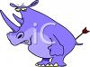 Cartoon of a Rhino with an Arrow in His Butt clipart