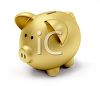 3D Gold Piggy Bank clipart