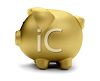 Side View of a Golden Piggy Bank in 3D clipart