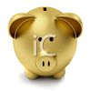 Face of a Gold Piggy Bank in 3D clipart