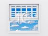 View of a Blue Sky with Fluffy Clouds Through a Window clipart