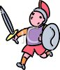 Kid Wearing a Gladiator Costume for Halloween clipart