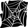 White Spider's Web on a Black Background clipart