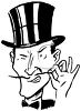 Villain Wearing a Top Hat Twisting His Pencil Thin Mustache clipart