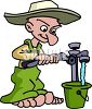Cartoon of a Hillbilly Getting Water From a Well clipart