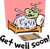 Get Well Soon Message with a Cartoon of a Hippo Sick in Bed clipart