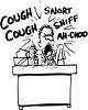 Sick Guy Sneezing and Coughing at His Desk clipart
