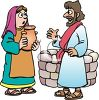 Biblical Man and Woman Speaking by a Well clipart