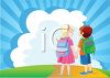 Two Children, a Boy and Girl, Brother & Sister, Going to School clipart