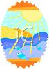 Sun Shining Down on Fish in the Sea clipart