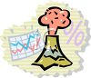 Graph and an Erupting Volcano clipart