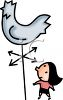 Woman Looking at a Weather Vane clipart