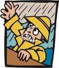 Cartoon of a Man Wearing a Yellow Slicker Falling Overboard During a Rainstorm clipart