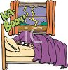 Cartoon of Someone Hiding Under the Covers During a Thunderstorm clipart