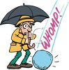 Cartoon of a Giant Piece of Hail Falling at a Man's Feet clipart