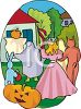 Kids Wearing Costume to Trick or Treat clipart