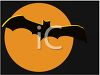 Silhouette of a Bat Flying Across an Orange Halloween Moon clipart