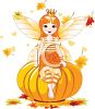 Faerie Girl Sitting on a Halloween Pumpkin clipart