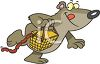 Cartoon of a Bear Taking a Picnic Basket Full of Sausages clipart
