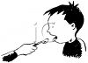 Vintage Cartoon of a Boy Taking His Medicine clipart
